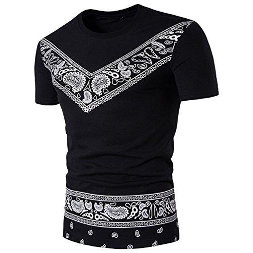Longra Herren T-Shirt Kurzarmshirt Top Afrikanische Dashiki Grafische Print Shirt Hemd Shirt Männer T-Shirt Casual Basic O-Neck Shirt im Ethno-Druck Sommer Top Hipster Hip Hop T-Shirt (Black, XL)