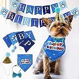 Twbbt Suministros para fiesta de cumpleaños para perro, toalla para saliva para perros y gatos, felices cumpleaños, azul y rosa para mascotas