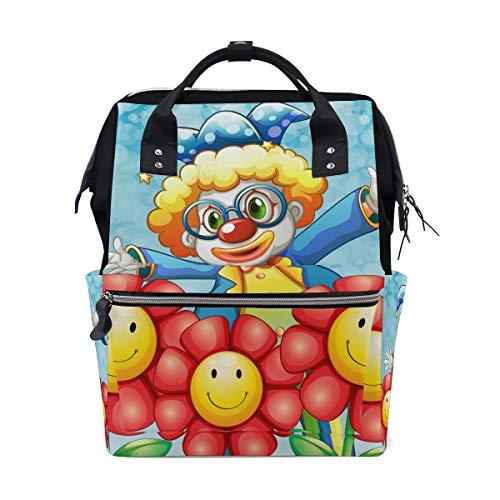 Multifunktions Rucksack Rucksack perfekte Karikatur niedlichen Clown Blume Reise kindertagesstätte für Frau mädchen