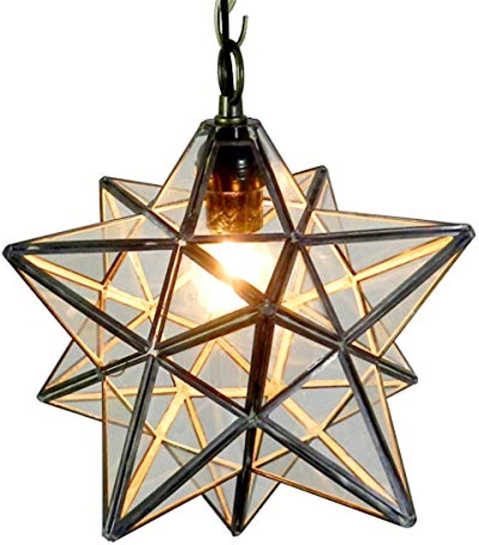 Hdmy Moderne lndliche Pentagram Stereo Star Drop Pendelleuchte Kristall transparentes Glas Deckenleuchte