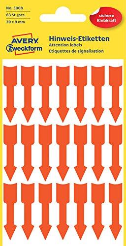 AVERY Zweckform 3008 selbstklebende Pfeiletiketten (Pfeil Aufkleber im Format 39x9 mm, permanent haftend, 63 Pfeil Sticker auf 3 Bogen, Hinweispfeile zum auffälligen Kennzeichnen) neon orange