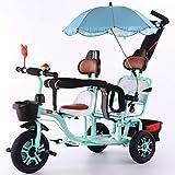 Triciclo para niños, triciclo triciclo triciclo doble, triciclo para exteriores de dos plazas, coche con pedal de empuje, cochecito de bebé de acero con alto contenido de carbono con sombrilla / asa