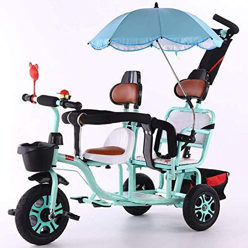 WWZ Triciclo Triciclo Twin Tricycle, Trible Trible Trible Push Push Car, Cochecito de Bebé de Acero de Alto Carbono con Sombrilla/Padre Push Manija/Frente Trasero Cesta de Alena