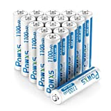 POWXS AAA Rechargeable Batteries, 1.2 Volt 1100mAh Ni-MH Pre-Charged AAA Batteries, High Performance & Long Lasting - 16 Count