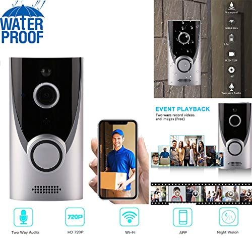 Home WiFi Video Smart Wireless Security Doorbell, Wireless Doorbell Camera with Chime, Waterproof 1080P HD Security Camera, Visual Intercom Recording Video Kits (Silver)