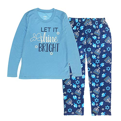 MJC International Family Matching Hanukkah Fleece Pajama Sets, Women's Large