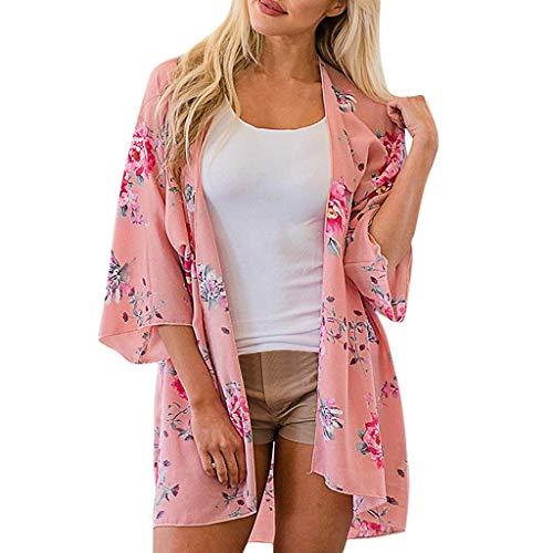 Ausverkauf! LEEDY Strandkleid Damen Chiffon Cardigans Kimono Sommer Florale Cover up Strand Leichte Rosa Boho Strand Jacke Tuch für Urlaub