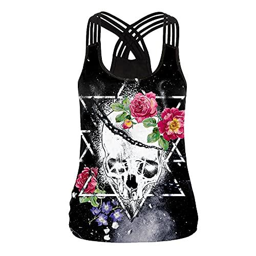 LPPL Camiseta de manga corta para mujer, diseño de calavera, color negro, sin mangas, con abertura en la parte superior, talla grande, Gris-7, M
