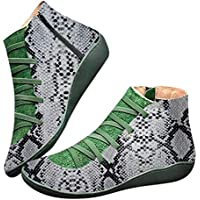 Darringls Botas de Altura de Tobillo con Suela de Goma de Cuero Artificial para Mujer Botas Botas de Altura de Tobillo con Suela de Goma de Cuero Artificial para Mujer Botas Estampado de Serpiente