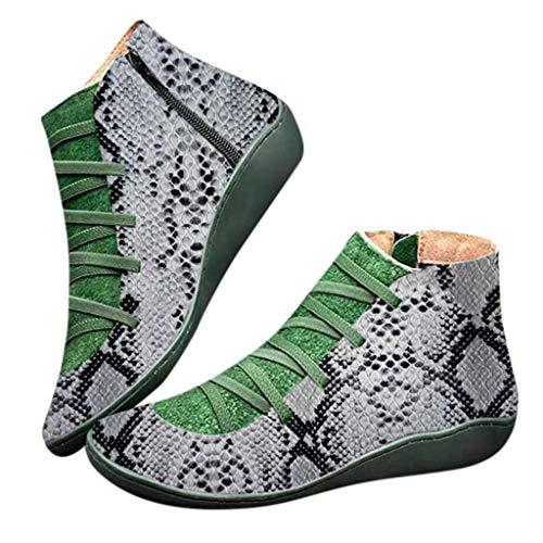 Fenverk 2019 Neue Frauen Casual Arch Support Stiefel Stiefeletten Damen Flache Slip-On Bequeme Booties Side ReißVerschluss Schuhe Anti-Vintage SchnüRschuhe Fersenstiefel Kurzer Boot(A Weiß,37 EU)