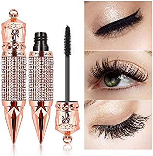 4D Silk Fiber Lash Mascara ,Thicker and Longer, Voluminous Eyelashes,Natural Waterproof Smudge-Proof, No Clumping, No Smudging,Adds Length, Depth and Glamour Effortlessly(Black)