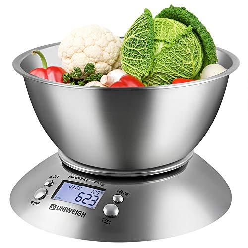 UNIWEIGH Digital Kitchen Scale for Cooking and Baking,Multifunction Food Scale with Removable Bowl 2.15l Liquid Volume, Room Temperature,Timer, Backlight LCD Display, Stainless Steel, 11lb/5kg