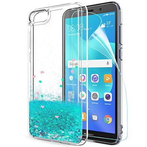 LeYi Hülle Huawei Y5 2018/Y5 Prime 2018/Honor 7s Glitzer Handyhülle mit HD Folie Schutzfolie,Cover TPU Bumper Silikon Treibsand Clear Schutzhülle für Case Huawei Y5 2018 Handy Hüllen ZX Turquoise