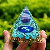 Fashio Natural Esfera de Amatista Pirámide de orgón 60 mm Patrón de geometría de Sagitario con Piedra de Cristal Turquesa Zodiaco Decoraciones (Size : 60mm)