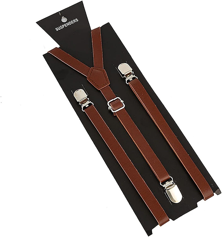 PU Suspenders Boy Adjustable Y Back Suspenders Men Y Shape Suspenders With 3 Clips