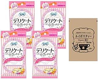 [セット品] ソフィ デリケートウェットシート フレッシュフローラルの香り (6枚入×2コ) × 4点 + SHOWルイボスティー1袋