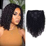 Curly Clip In Extension Human Hair 3C 4A Kinky Curly Clip Ins Full Head for Black Women Brazilian Remy Human Hair Natural Color 8Pcs with18clips 120g/Set (14 inch, curly wave)