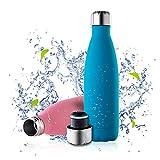EUKO - Botella térmica de acero inoxidable, 500 ml, portátil, botella de agua, aislamiento al...