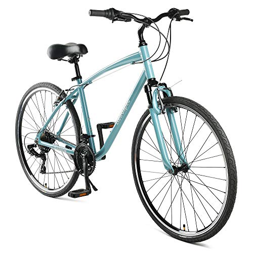 Retrospec Barron Comfort Hybrid Bike 21-Speed with Front Suspension and 700c Wheels with Multi-Surface Tires; 20' Large, Blue Fog