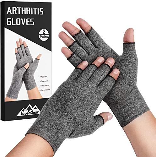 SupreGear Arthritis-Handschuhe, 2 Paar, rheumatische Arthritis, Kompressionshandschuhe für Arthritis-Hände, Schmerzlinderung, Gaming, Tippen, fingerlose Handschuhe für Männer und Frauen