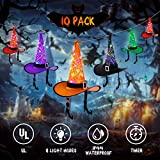 YUNLIGHTS 10 Pack Halloween Witch Hats String Lights, 43FT Hanging RGB LED Lighted Witch Hats with Auto Timer & 8 Lighting Modes for Indoor Outdoor Tree Yard Holiday Halloween Decoration