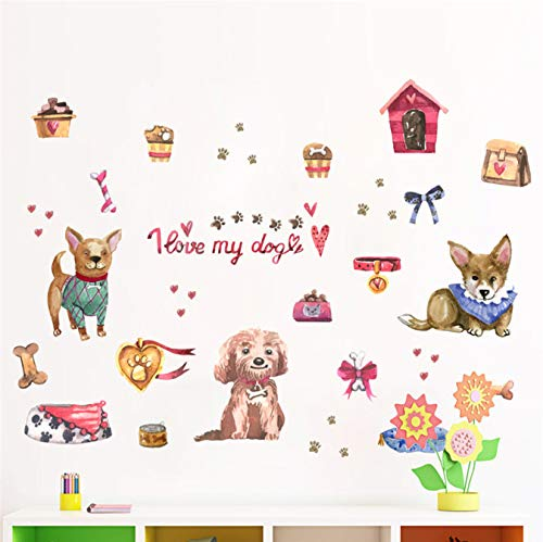 Vivid Dogs 3D Cats Love Wall Sticker Refrigerator Window Bedroom Pet Store Decor Animal Wall Decals Poster Mural 30 * 90Cm