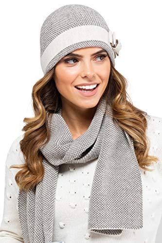 Kamea - Winterset Katalonia - Mütze mit passendem Schal - verschiedene Farbauswahl - 2 Teilig, Winter Set:Beige