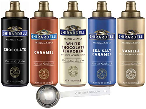 Ghirardelli - 16 Ounce Black Label, 16 Ounce Vanilla, 16 Ounce White, 17 Ounce Caramel, 17 Ounce Sea Salt Caramel Flavored Sauce (Set of 5) with Ghirardelli Stamped Barista Spoon