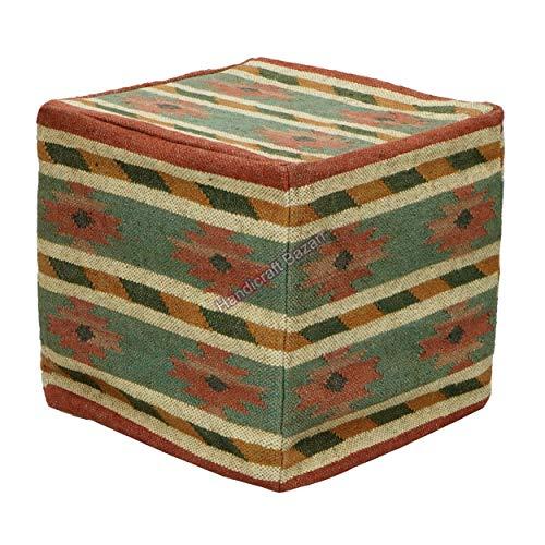 Handicraft Bazarr Funda para puf de yute de lana, estilo vintage Kilim, funda otomana, para pasillo, piso, sofá, reposapiés lateral, para habitación de niños, 45,7 x 45,7 x 45,7 cm