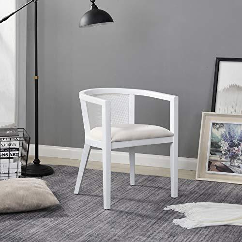 B&D home - Rattan Sessel skandinavisch Weiss | Lesestuhl Wohnzimmer | Fernsehsessel bis 150kg | arm Chair Relax Chair