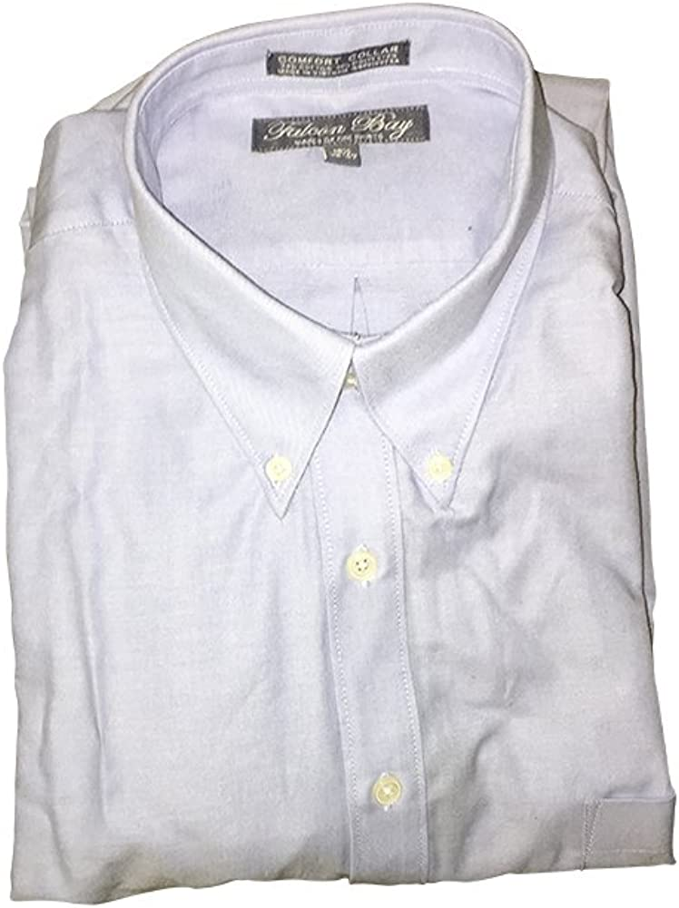 Big and Tall Comfort Collar Blue Oxford Button Down Casual Dress Shirt