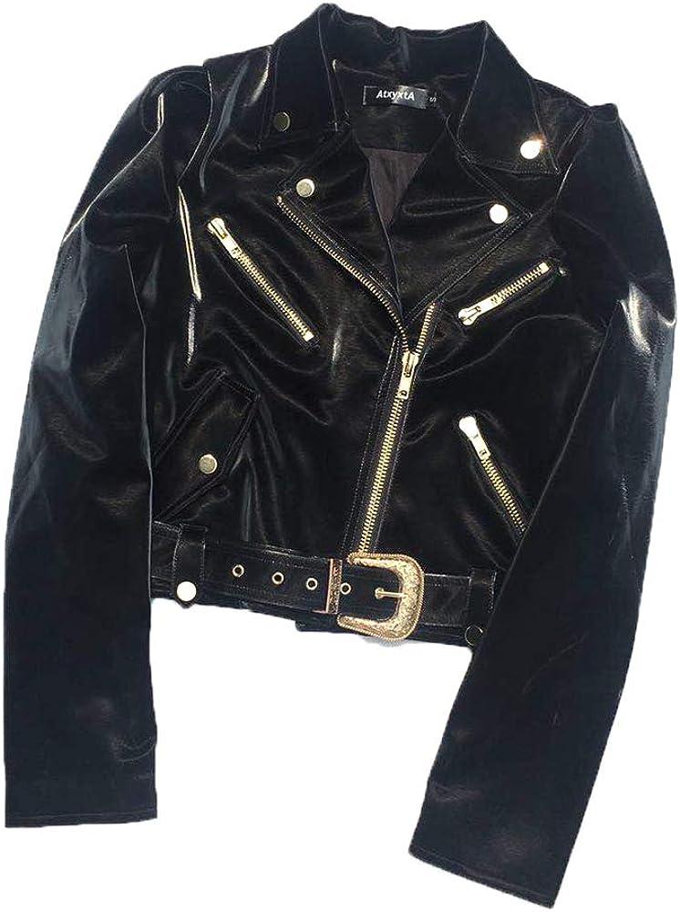 Faux Leather Jacket Women Black Moto Cropped Ladies Motorcycle XL …