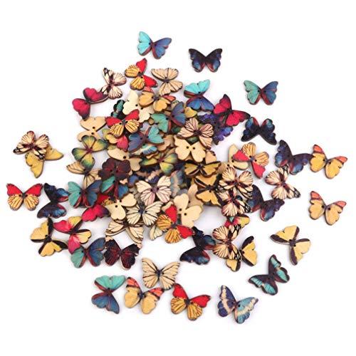 LIOOBO Botón de Madera en Forma de Mariposa Multicolor 100 Piezas - Botones de Costura de 2 Agujeros