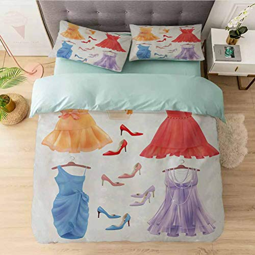 3 Pieces Duvet Cover Set, Festive Attire for Party Old Fashioned Female Cocktail Dresse, 3 Pieces Comforter Qulit Cover Ultra Soft Lightweight Simple Style(1 Duvet Cover + 2 Pillow Shams), Multicolor