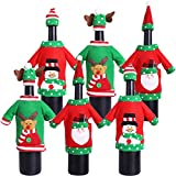 Christmas Wine Bottle Cover Knit Sweater Wine Bottle Dress Cartoon Wine Bottle Cover for Christmas Decorations Christmas Sweater Party Decorations (Embroidery cartoon, 6PACK)