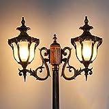 Lámpara de Poste de Poste Alto para Exteriores Vintage Garden Double Head Farola E27 Lámpara de Columna de bolardo de Vidrio de Aluminio Impermeable para Patio Comunidad Villa Porche Camino de jardín