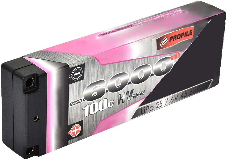 Drfeify LiPoBatterie 7,6 V, 6000 mAh 100C 2S TPlugLipoBatterie für Rennwagenmodell