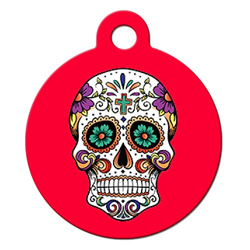 Big Jerk Custom Products Ltd Holiday Dog Cat Pet ID Tag - Sugar Skull - Personalize Colors and Your Pet Info