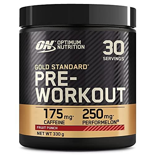 Optimum Nutrition Gold Standard Pre Workout en Poudre, Energy Drink avec Créatine Monohydratée, Caféine et Vitamine B Complex, Saveur Cocktail de Fruits, 30 Portions, 330g, l'Emballage Peut Varier