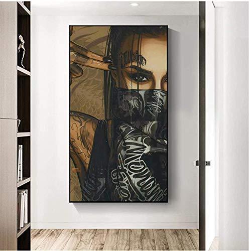 YaShengZhuangShi Plakat und Malerei 60x120cm kein Rahmen Gemälde auf Leinwand tragen Maske Frau Poster und Drucke Tattoo Mädchen Wandkunst Bild für Wohnzimmer Home Decor