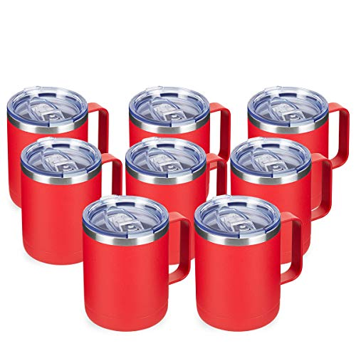 COKTIK 12oz Insulated Coffee Mug With Handle and Sliding Lid,Stainless Steel Travel Tumblers 8 Pack Bulk,Double Wall Vacuum Tea Cup for Hot & Cold Drink Husband Gifts