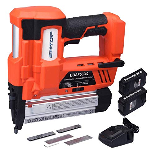 BHTOP Cordless Brad Nailer &Stapler 2 in 1 18Ga Heavy Finish Nail Gun with 18Volt 2Ah Lithium-ion Rechargeable Battery Air Cylinder(Charger and Carrying Case) (2Batteries)