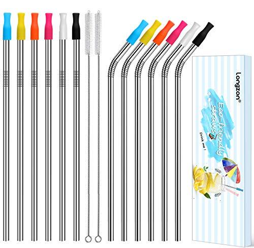 longzon Paille INOX, 【12 Pack】 pailles reutilisables, Paille de Fer, Paille Acier en Metal Biodegradable, Mieux Que Paille Bambou/Carton/Papier, 2 Brosse+Sac+Manchon en Silicone- Court 8.5 ''