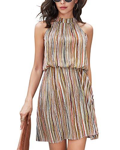 YOINS Damen Sommerkleid Knielang Sexy Kleid Cocktailkleid für Damen Brautkleid Strandkleider Leopardmuster Ärmellos A-Linie