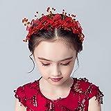 IYOU Diadema floral de cristal rojo bowknot vestido de princesa flor primera comunión Tiaras accesorios para el pelo para niñas de flores y dama de honor