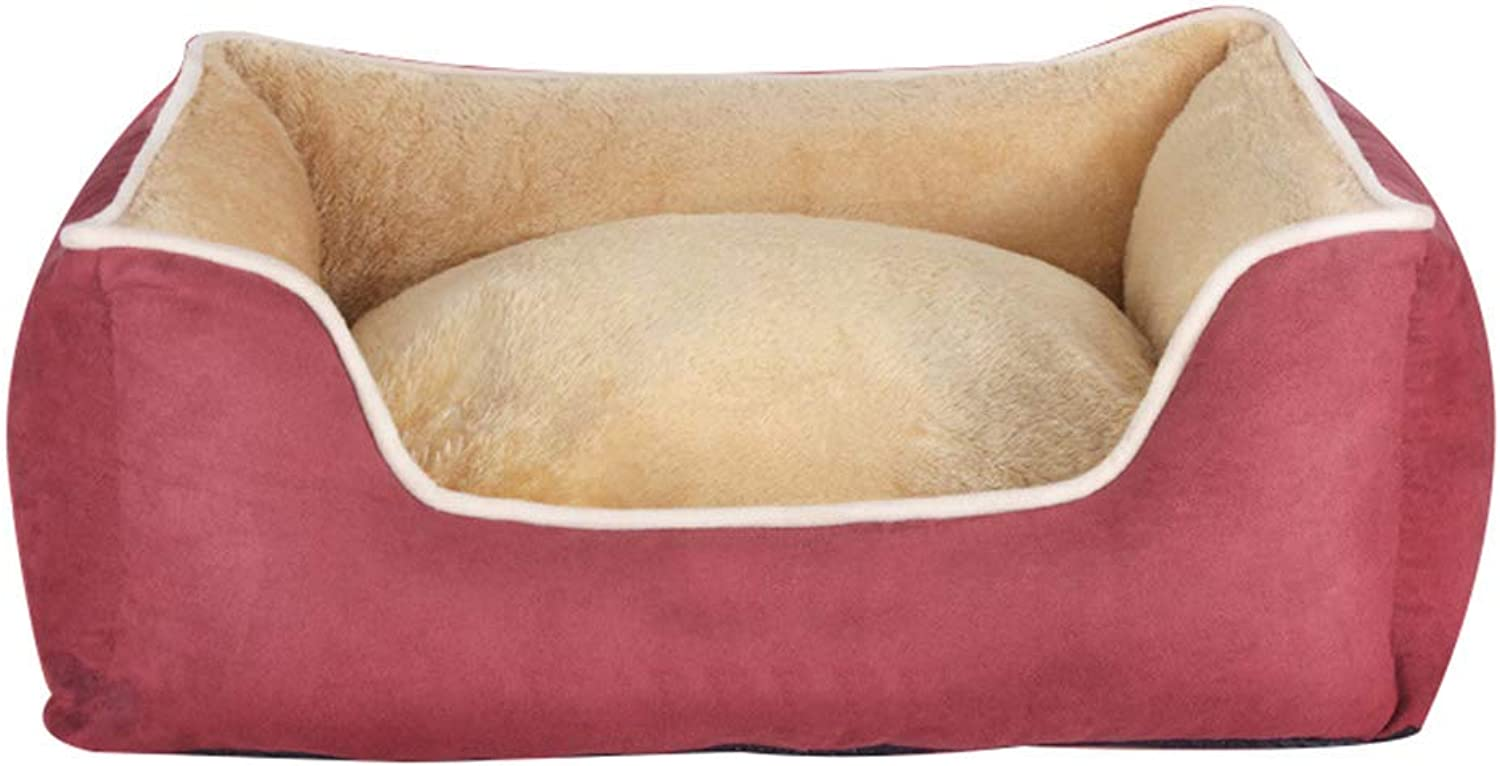 Desti Flakes Pet Bed Teddy Kennel Removable and Washable Four Seasons Universal Pet Mat Large Medium Small Pet Pad (color   Red, Size   S)