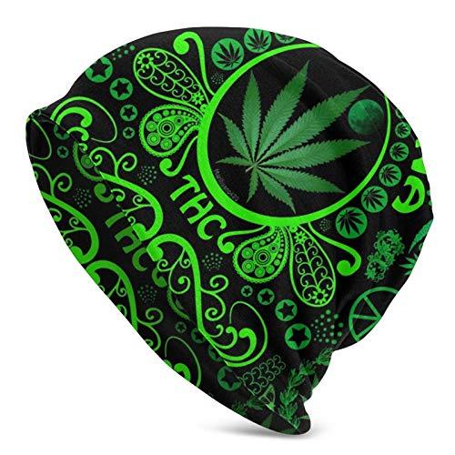 AEMAPE Gorro de Punto para Adultos con Bandera de Hoja de Marihuana Verde, Gorro Suave y Holgado, Gorro de Skully, Gorro de Cobertura de Medio pasamontañas