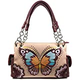 Zelris Peacock Butterfly Floral Embroidery Conceal Carry Women Handbag (Peach)