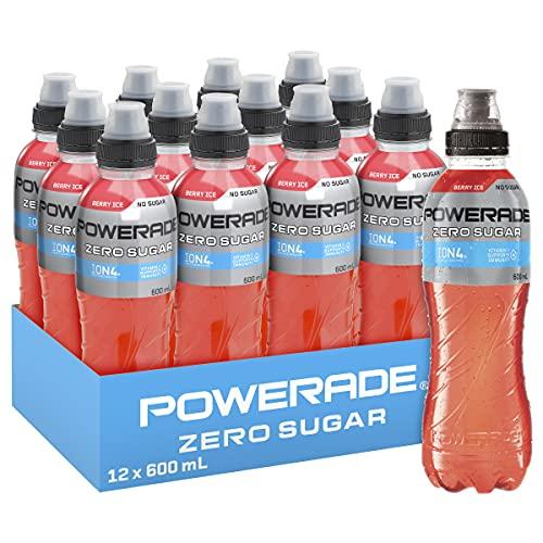 Powerade ION4 Berry Ice Zero Sports Drink, 12 x 600 ml