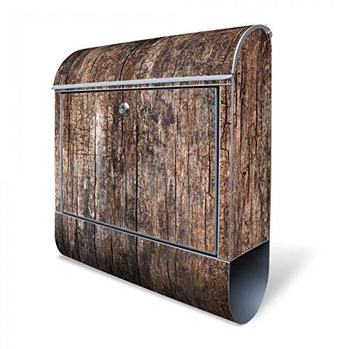 Banjado Design Briefkasten mit Motiv Altes Holz | Stahl pulverbeschichtet mit Zeitungsrolle | Größe 39x47x14cm, 2 Schlüssel, A4 Einwurf, inkl. Montagematerial